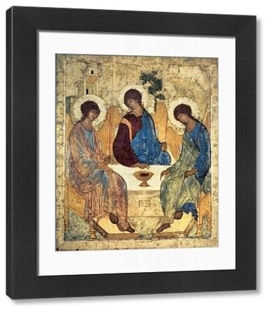 BAL39517 The Holy Trinity, 1420s (tempera on panel) (for copy see 40956) by Rublev, Andrei (c.1370-1430); 142x114 cm; Tretyakov Gallery, Moscow, Russia; Russian, out of copyright