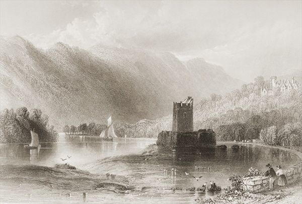 KW131111 Narrow Water Castle, County Down, Northern Ireland, from 'Scenery and Antiquities of Ireland' by George Virtue, 1860s (engraving) by Bartlett, William Henry (1809-54) (after); Private Collection; Ken Welsh; English, out of copyright