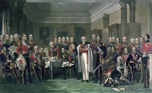 XCF272299 Peninsular Heroes at the United Services Club (colour litho) by Knight, John Prescott (1803-81); Private Collection; (add.info.: Sir Arthur Wellesley (1769-1852) 1st Duke of Wellington (standing centre right);); English, out of copyright
