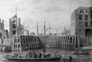 Entrance to the Limehouse Dock, 1850 (pen, ink & wash on paper)
