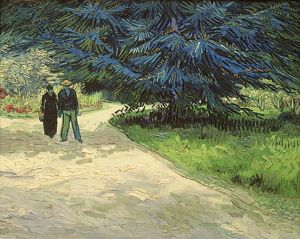 Public Garden with Couple and Blue Fir Tree: The Poet's Garden III, 1888 (oil