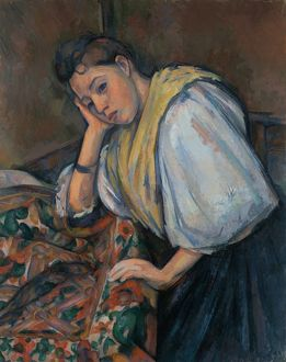Young Italian woman at a Table, c.1895-1900 (oil on canvas)